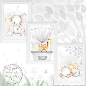 Babyzimmer-Bilder-Kinderzimmer-Bild-Tiere-Kunst-Druck-fuer-A4-Bilderrahmen-Set41