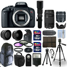 Canon T7i / 800D SLR Camera+ 5 Lens Kit: 18-55mm STM + 75-300mm + 500mm and More