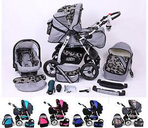 Kinderwagen-3-in-1-Babyschale-Luftbereifung-Extras-Lieferbar-in-11-Farben