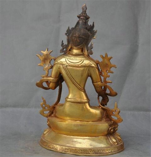 Tibet buddhism bronze gilt green tara goddess kwan-yin buddha statue sculpture