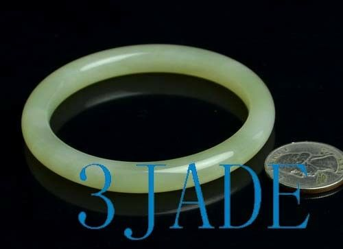 60.5mm Natural White Nephrite Jade Bangle Bracelet w// certificate