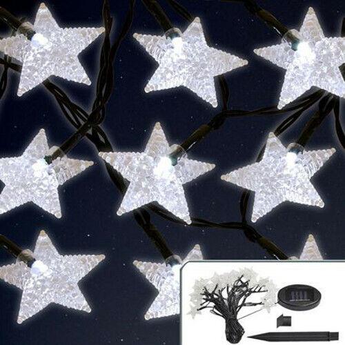 Solar LED Lichterkette Sterne 6,7m Blink-//Dauerfunktion Weihnachtsbeleuchtung