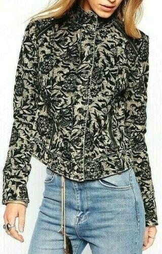 Free People Victorian Jacquard Exposed Seam Jacket Zip Up Cuff F996J770