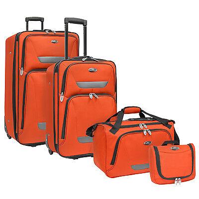 US Traveler Westport 4-Piece Orange Rolling Luggage Suitcase Tote Bag Travel Set