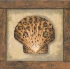 Wallpaper Border Animal Print Sea Shells Leopard, Zebra & Tiger With Wood Trim
