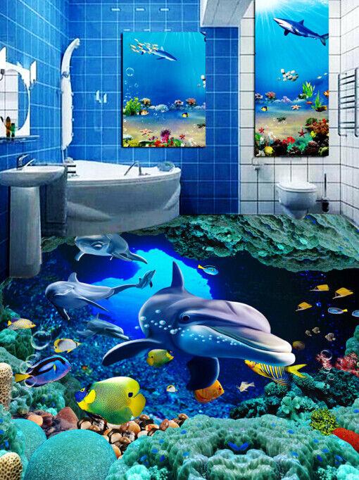 3D Lindo delfines Piso impresión de parojo de papel pintado mural 643 5D AJ Wallpaper Reino Unido Limón