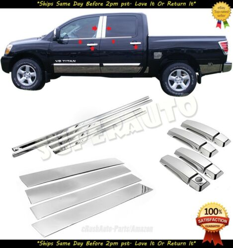 FOR 2004-2015 Nissan Titan CREW  Combo Window Sills+Pillar+4DR Handle Covers Set
