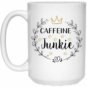 Caffeine Junkie White Ceramic Coffee Mug Funny Novelty Coffee Cup Perfect Gift