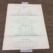 1899 Antico architetti Print-O 'Higgins/Asama e Tokiwa stampa della Marina, i piani