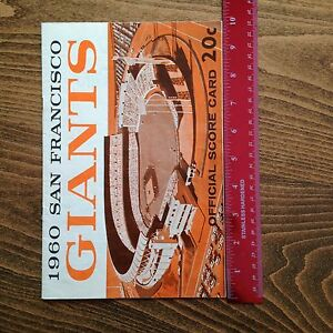 1960 San Francisco Giants vs. Cubs Official Score Card   eBay