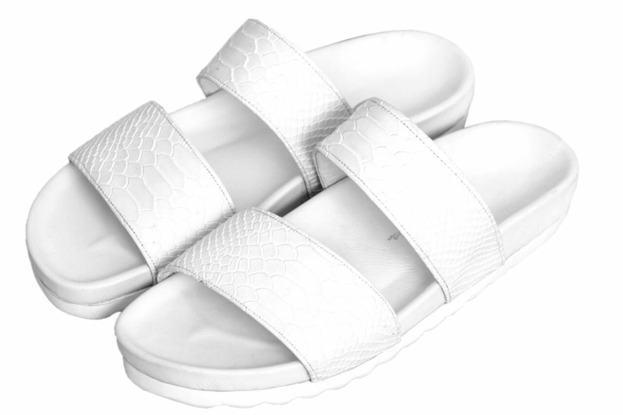 BRUNO BRUNO BRUNO ARTHUR MENS DOUBLE STRAP SNAKE SKIN SANDALS - WHITE . NEW 110649
