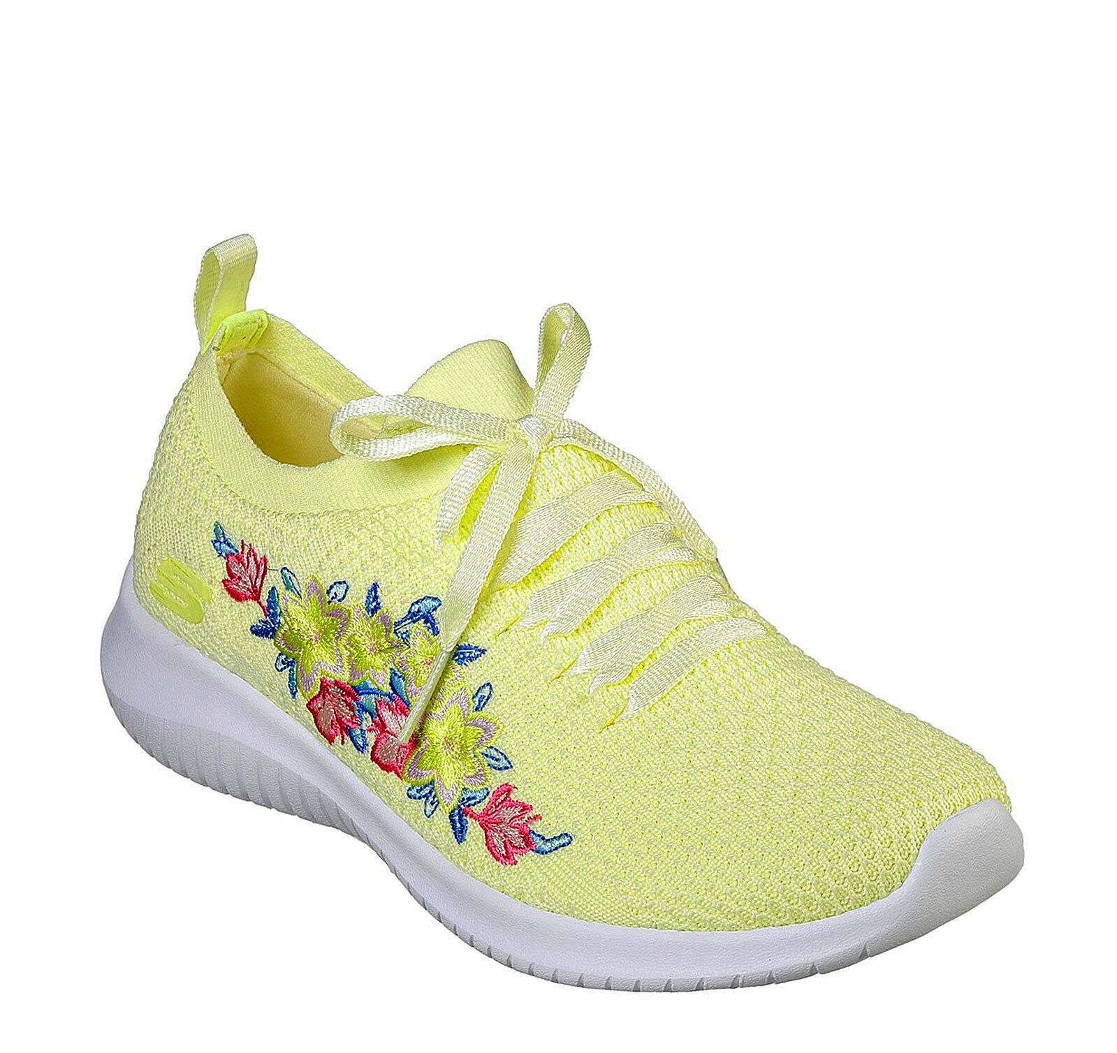 Skechers NEW Ultra Flex Fresh Pick Gelb floral memory foam trainers Größe 3-8