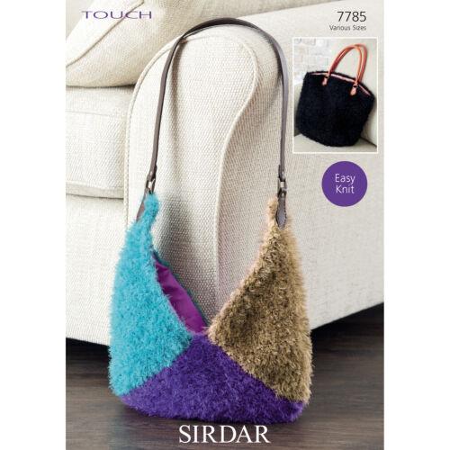 Shopper or Triangle Bag Sirdar Knitting Pattern 7785 Touch Yarn