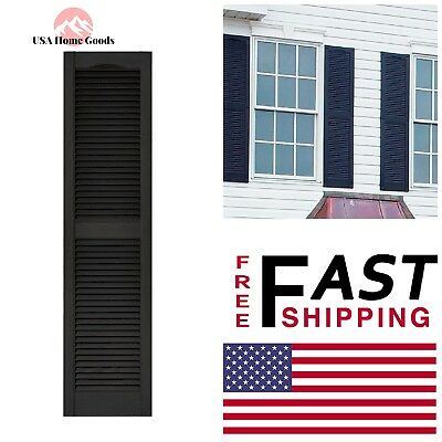 x 60 in Exterior Shutters Black Louvered Vinyl Pair 15 in Rectangle Decorative