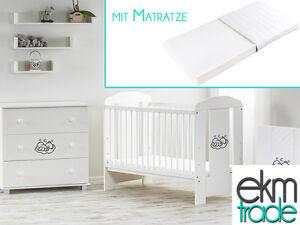 babybett kinderbett 120x60 holz gitterbett mit matratze. Black Bedroom Furniture Sets. Home Design Ideas