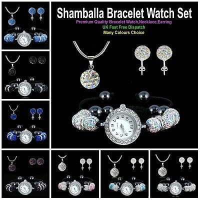 SHAMBALLA 8Pcs Crystal Ball Bracelet Watch + Pendant Necklace + Stud Earring Set