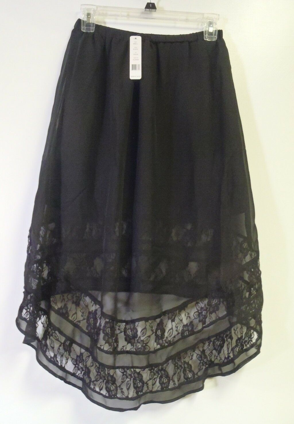 ROMEO   JULIET COUTURE PLEATED HI-LO WOVEN SKIRT WITH LACE TRIM