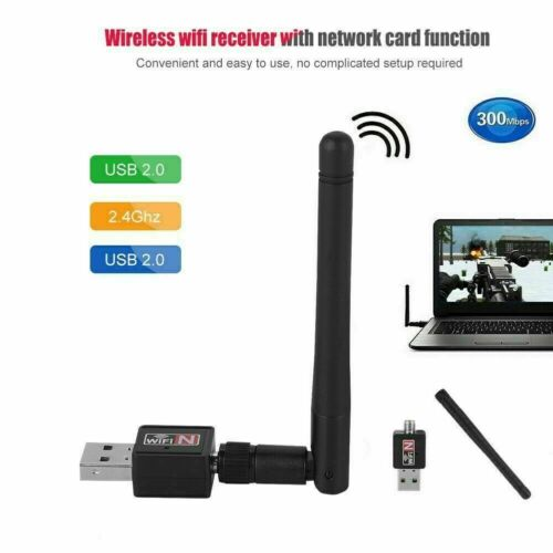 300Mbps Wireless USB 2.0 WiFi Adapter Dongle Network LAN Card 802.11a//b//n//g//ac
