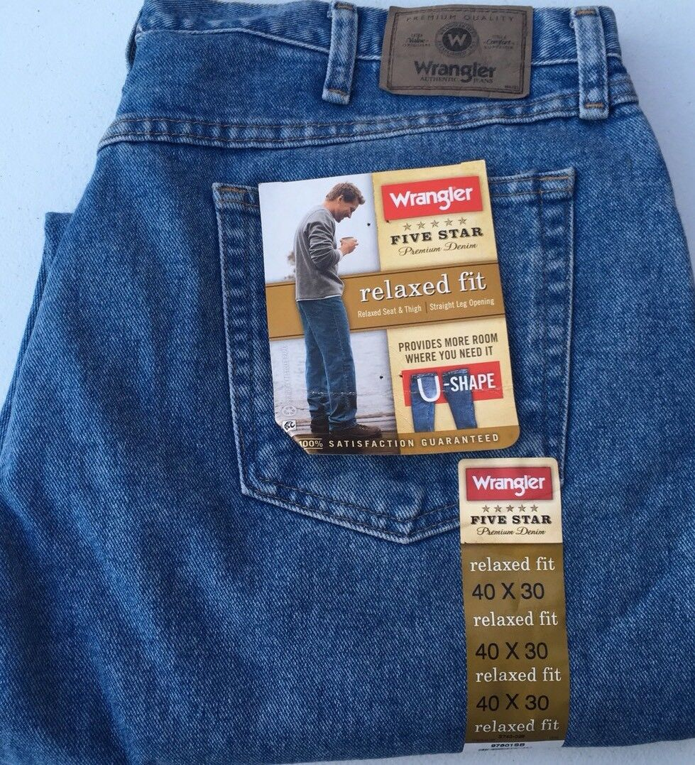 NWT MENS 5 STAR RELAXED FIT WRANGLER JEANS Sz 40 x 30 NEW