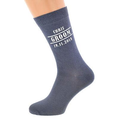 Bescheiden Grey Personalised Wedding Socks, Best Man, Usher, Groomsman, Step Dad Any Text Elegant Im Geruch