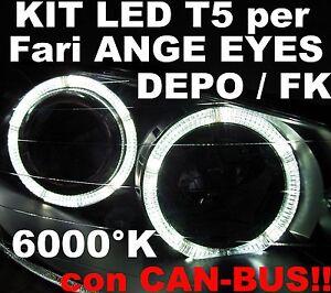 24 LED SMD 6000K attacco T5 BIANCHI per ANGEL EYES CANBUS Fari Fanali FK DEPO
