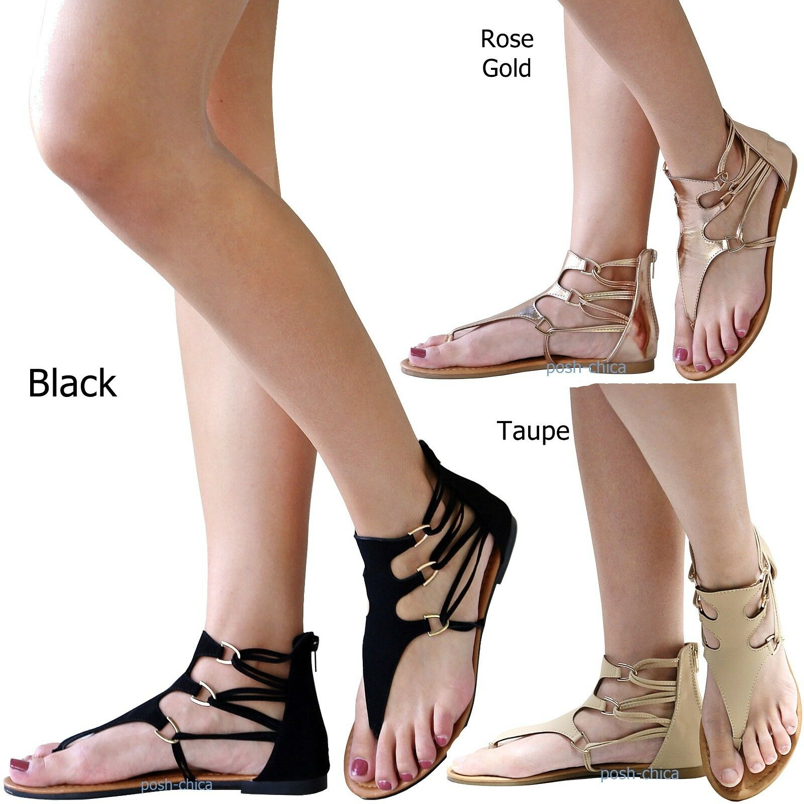 745a3e63b New Women ANik Black Taupe Rose Gold Gladiator Strappy Strappy Strappy  Thong Flat Sandals 5.5-