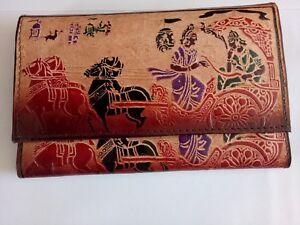 86bc61359c25 Details about Genuine Leather India Shantiniketan Clutch Bag Women's Purse  / Wallet