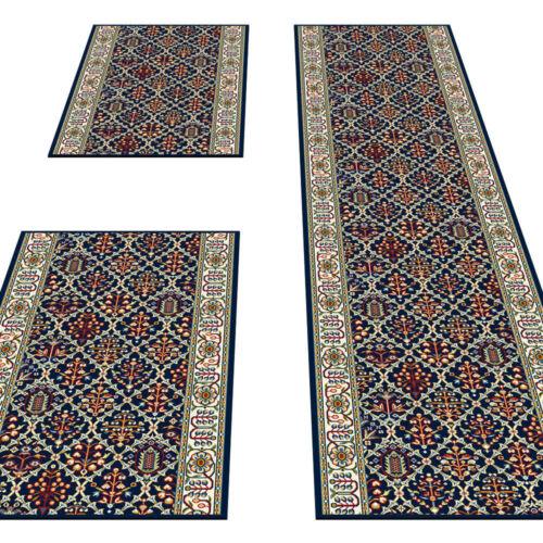 Läufer Teppich Schlafzimmer Bettumrandung Läuferset 3 teilig Klassisch Blau