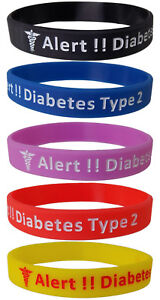 5-Pack-Diabetes-Type-2-Silicone-Bracelet-Wristbands