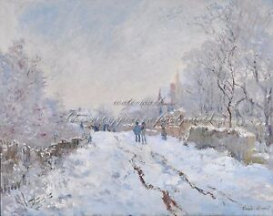 CLAUDE-OSCAR-MONET-Painting-Poster-or-Canvas-Print-034-Snow-Scene-at-Argenteuil-034