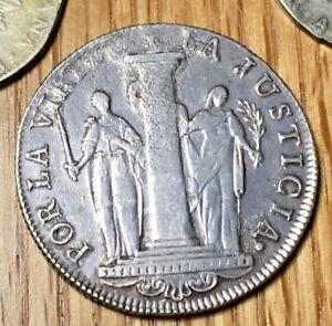 1822-Peru-8-reales-XF-AU-First-Coin-of-Peru-Bolivar-Lima-Republic-silver