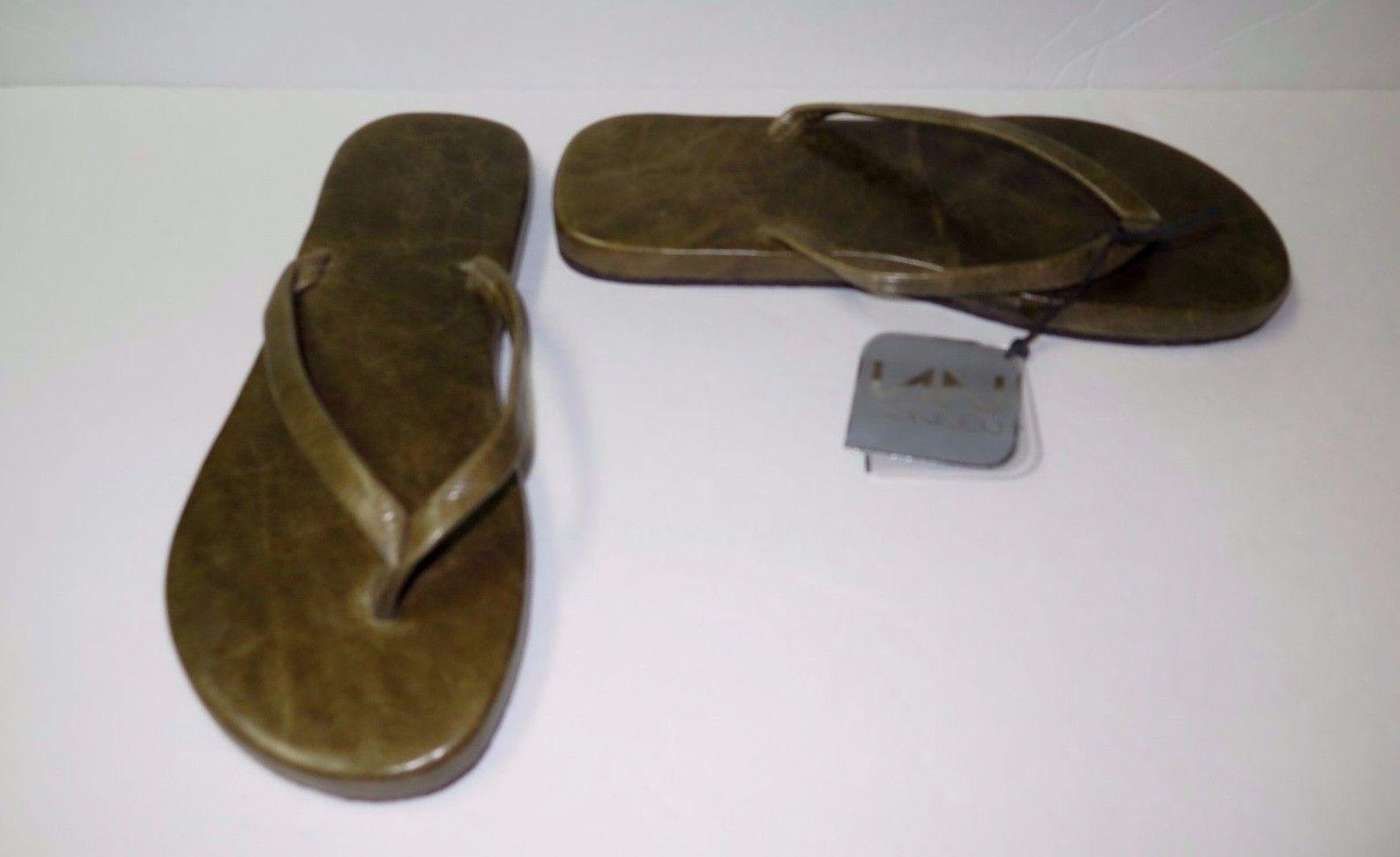 Belle Entièrement neuf dans sa sa sa boîte Designer noneeo Femmes Vert Cuir Flip Flop sandales 39 Italie 53ff02