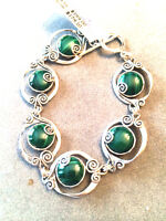 Or Paz Sterling 8 Malachite Gemstone Scroll Design Bracelet