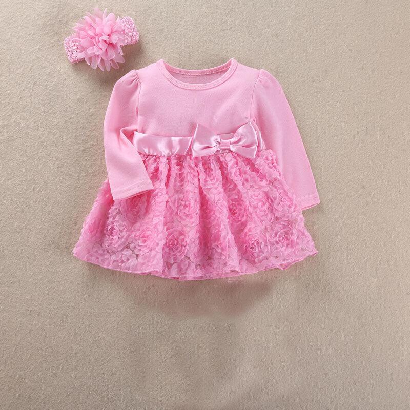 ❤️Rolayllove❤️ Newborn Infant Baby Toddler Girls Dresses Kids Tutu Flower Print Birthday Wedding Party Playwear Outfits