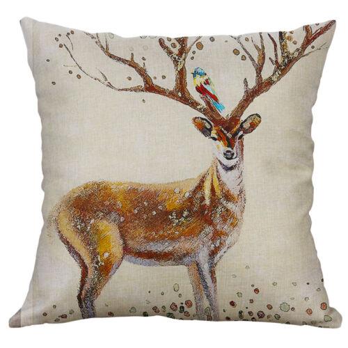 "Deer Pattern Cotton Linen Soft Home Decorative Pillow Case Cushion Cover 18/"""