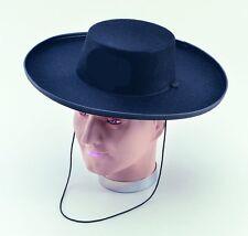 Black Felt Zorro Cowboy Wild Western Hat Fancy Dress Costume Adult NEW P4889
