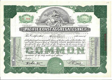 PACIFIC COAST AGGREGATES INC.....1940'S STOCK CERTIFICATE