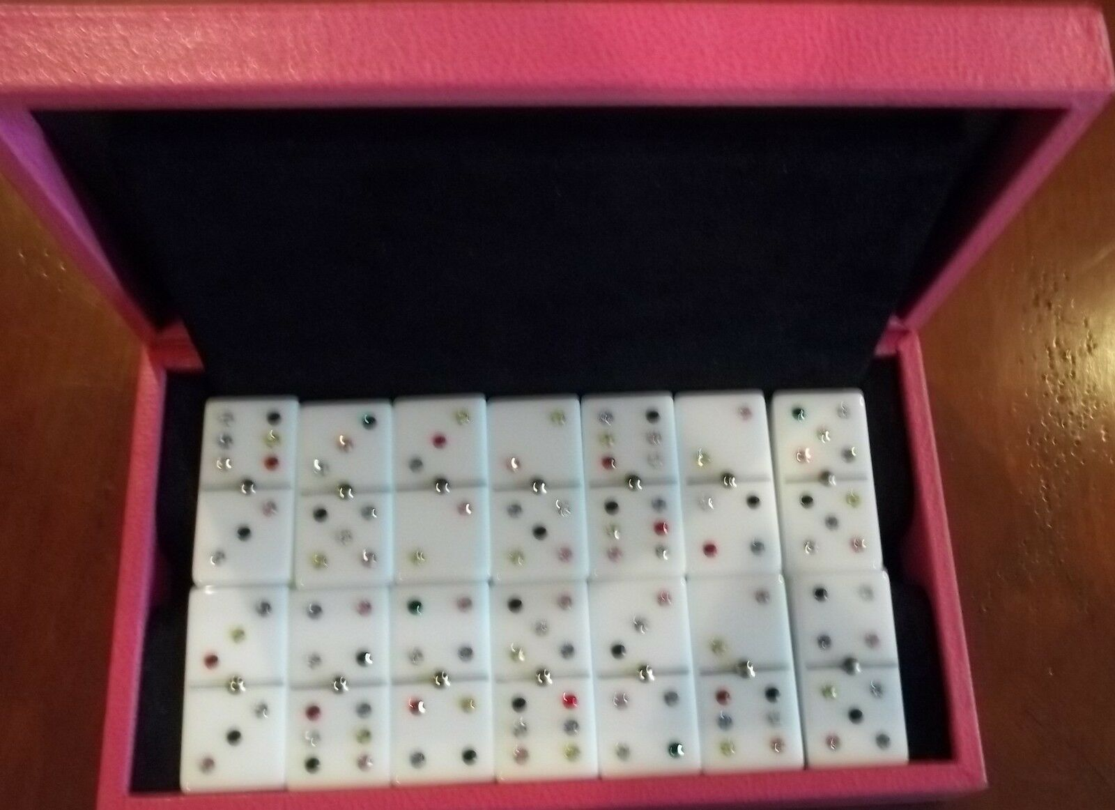 Renzo Romagnoli Dominoes Set Set Set Luxury Pink Leather Cased White Dominoes cbc562