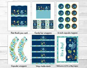 Under the Sea Octopus Crab Turtle Nautical Printable Birthday Party Package