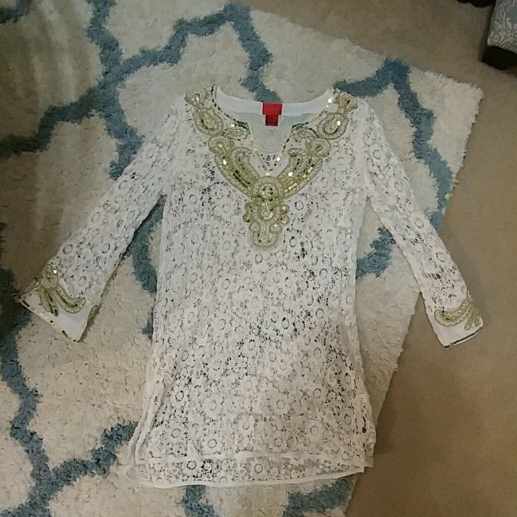 Lace Tunic Beaded Tunic White Tunic Dress Lace Dress gold Dress