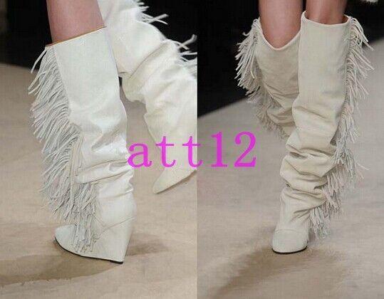 Womens Wedge Pointy Toe High Heel Heel Heel Over Knee High Boot Suede Fringe Tassel Slouch 7b9b57
