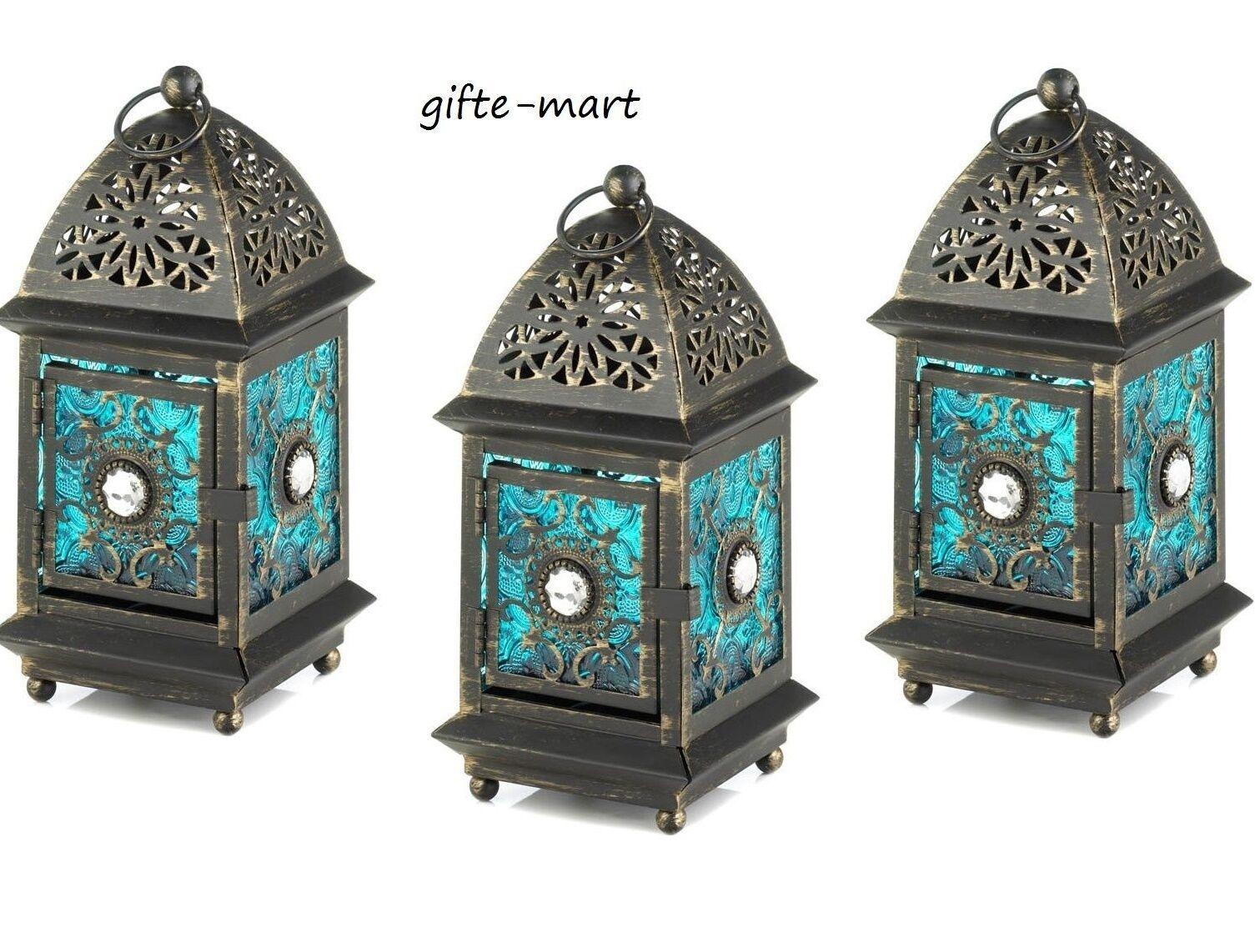 5 blueE Mgoldccan Marrakech gem caravan Lantern Candle holder wedding centerpiece