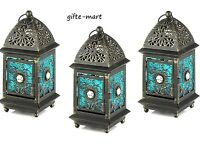 3 Blue Moroccan Gem 9 Marrakech Jewel Caravan Lantern Candle Holder Lamp Light