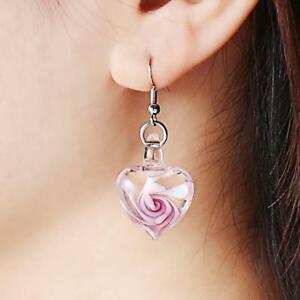Glass-Heart-Spiral-Flower-Inlaid-Pendant-28mm-Ribbon-Necklace-Earrings-Jewelry