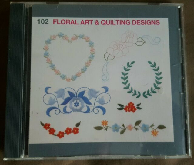 Janome Embroidery Card 102 Floral Art And Quilting For Mc 9000 Elna