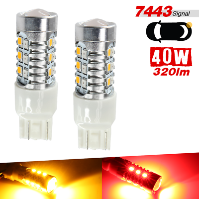LED Light 5W 7443 Red Two Bulbs Front Turn Signal Replacement Lamp Show Color
