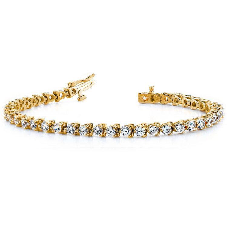 Diamond Tennis Bracelet 4.00 CT Round Cut 14k Yellow gold 100% Natural Certified