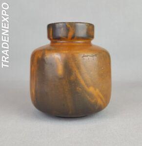 Vintage-60-70-039-s-STUDIO-KERAMIK-HKW-Brown-Art-Vase-West-German-Pottery-Fat-Lava
