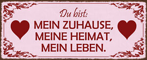 Du Bist Mein at Home Heimat Leben Shield Arched Metal Tin Sign 10 X 27 CM K2030