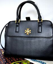 AUTH NWT TORY BURCH Women's Mercer Leather Dome Satchel Crossbody Purse in Black